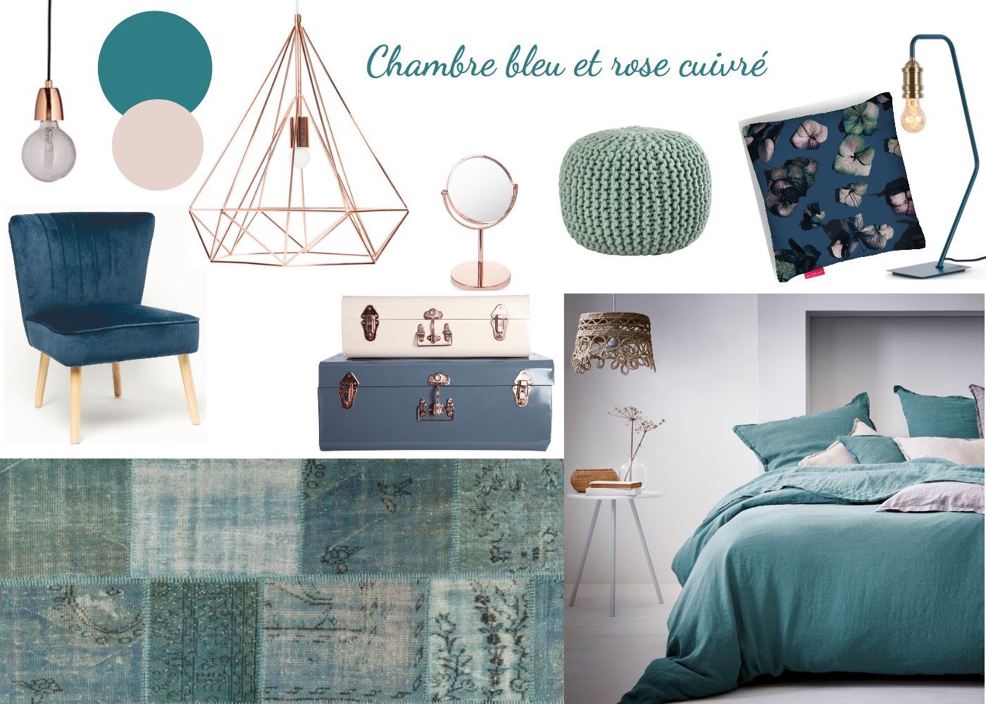 chambre bleu et rose cuivr toutes les planches setmystyle partagez vos planches tendances. Black Bedroom Furniture Sets. Home Design Ideas