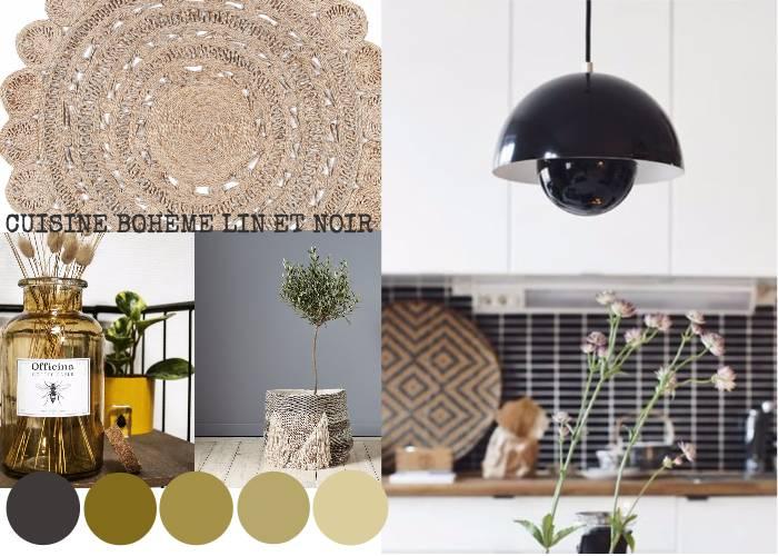 cuisine boh me lin noir toutes les planches setmystyle. Black Bedroom Furniture Sets. Home Design Ideas