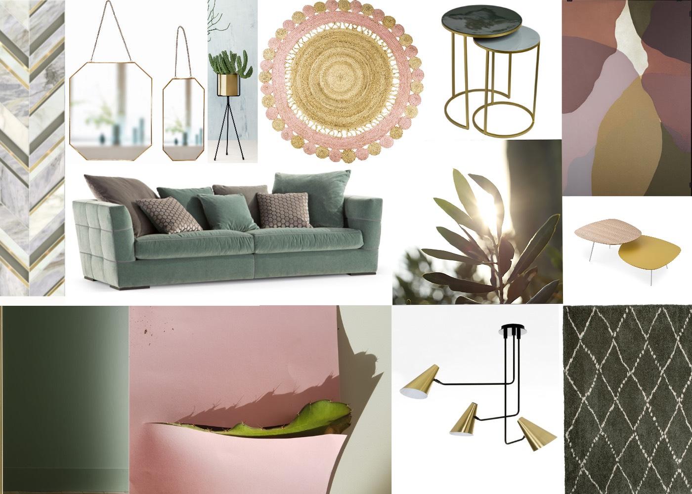 salon en vert profond et rose poudr toutes les planches setmystyle partagez vos planches. Black Bedroom Furniture Sets. Home Design Ideas