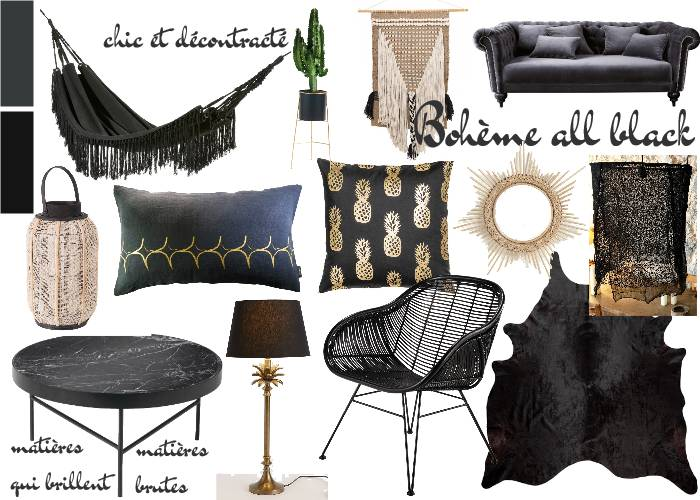 salon boh me chic all black toutes les planches setmystyle partagez vos planches tendances. Black Bedroom Furniture Sets. Home Design Ideas